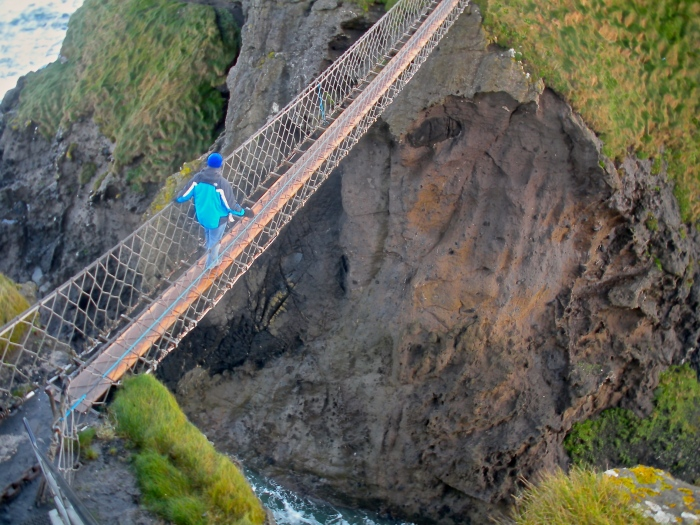 Patrick crossing the Carrick-A-Rede bridge
