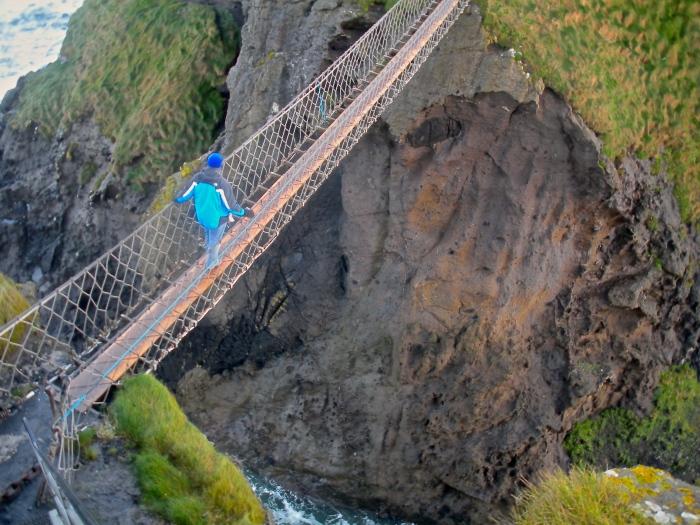 Patrick crossing the Carrick-A-Rede bridge