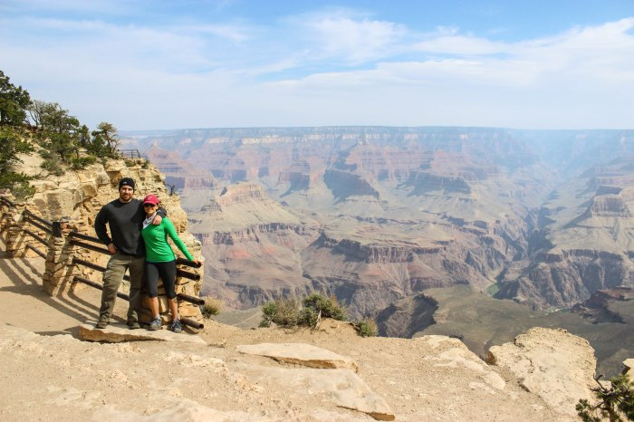 Pat and I at the Grand Canyon just before driving to Grandview Point and hiking to Horseshoe Mesa campground.