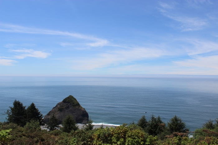 View of the coast from parking at the Flint Ridge trailhead.